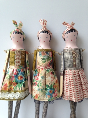 Wood doll paper dress
