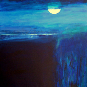DISTANT-BAY-AND-FULL-MOON-Acrylic-on-Canvas-100cm-x-100cm