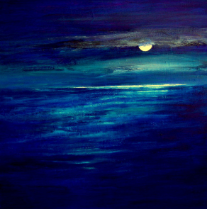FULL-MOON-LOOKING-WEST-ACROSS-THE-BAY-Acrylic-on-Canvas-90cm-x-90cm